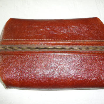 Mens Vintage Genuine Leather Shaving Toiletry Bag