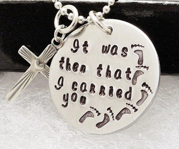 Footprints Necklace - Footprints in the Sand - Religious Necklace - Rememberance Necklace