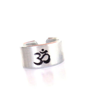 Om Hand Stamped Ring Yoga Jewelry Namaste Ohm Aluminum Adjustable Unique Gift For Her Christmas Birthday Under 20
