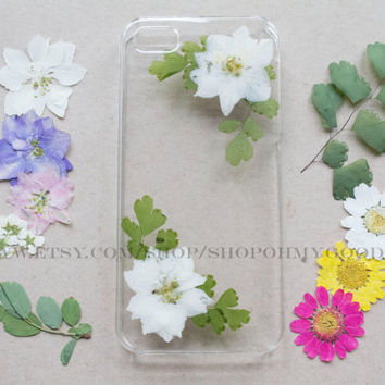 iPhone 6 Plus Case Real Flowers, iPhone 6 Case Pressed Flower, iPhone 5c Case Clear, iPhone 5s Case, iPhone 5 Case Pressed Flower Phone Case
