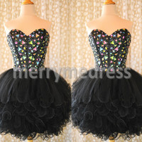 Beads Black Sweetheart Strapless Ball Gown Short Cocktail Dress, Mini Organza Formal Evening Party Prom Dress New Homecoming Dress