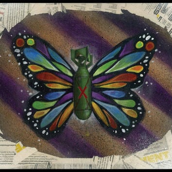 Bombs for Piece Butterfly Art Print