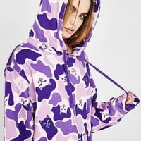 RIPNDIP Autumn Winter Newest Fashion Women Men Casual Purple Camouflage With Pocket Sweater Pullover Top Hoodie Sweatshirt