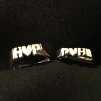 Pair Of 2 Rings With Initial Heart Initial Hand Carved In Sterling Silver 925