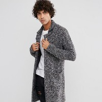 ASOS Longline Heavyweight Knitted Duster Cardigan in Charcoal at asos.com