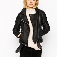 ASOS Textured Biker In Boxy Fit