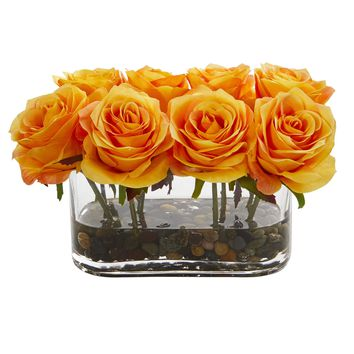 Artificial Flowers -5.5 Inch Blooming Orange Yellow Roses In Glass Vase Artificial