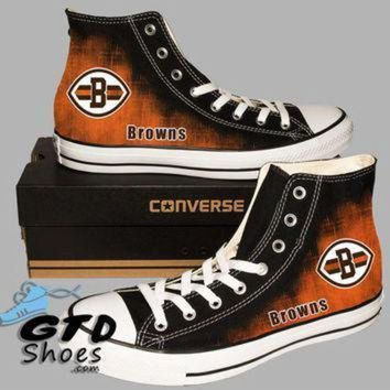 DCCK1IN hand painted converse cleveland browns ohio state football handpainted shoes