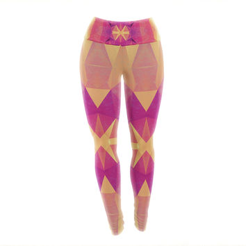 "Nika Martinez ""Retro Pink Geometrie"" Pink Yellow Yoga Leggings"
