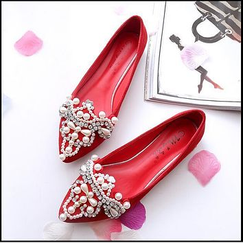 Women Crystal Ballet Flats Size 34-43 2017 Spring suede Solid Bling Cloth Pointed Toe Slip-On Flat Woman loafers drive shoes