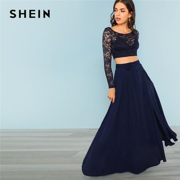 SHEIN Blue Elegant Highstreet Crop Lace Round Neck Long Sleeve Top And Knot Maxi Skirt Set Autumn Women Party Solid Two Piece