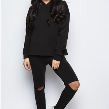 Olivia Black Knee Cut Out Loungewear Set at misspap.co.uk