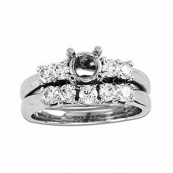 3/4 CT. T.W. Diamond Semi-Mount Bridal Engagement Ring Set in 14K White Gold