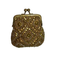 Vintage Gold Beaded Change Purse Hollywood Regency Coin Purse Bronze Coin Pouch Bag Sequined Wallet Metal Lucite Beads Beadwork Brass Frame