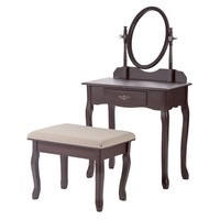 New Wood Make Up Vanity Table Set Jewelry Desk w/Stool Drawer & Mirror