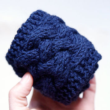 SALE 25% - Winter knit headband, beautiful cozy, thick, cable pattern Knitted Headband, Navy Blue Knit Head Wrap, Knitted Ear Warmer