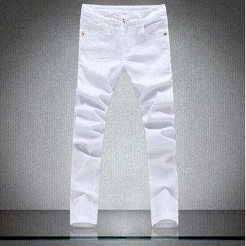 ONETOW patchowrk jeans mendesigner skinny white pants elastic denim overall slim fit casualMens clothing