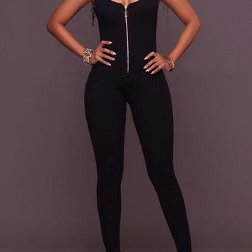 Black Plain Zipper Spaghetti Straps Backless One Piece Elastic Waist Long Jumpsuit