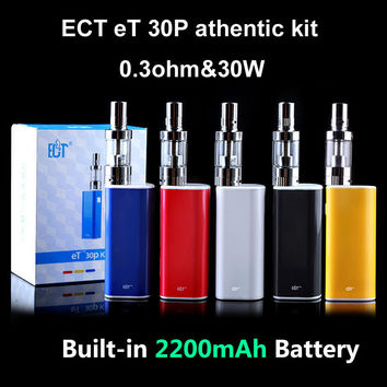 Original ECT Box Mod E-Cigarettes eT 30P 30W E cig 2.5 Ml Mini fog 0.3ohm Airflow Control Vaporizer Built-In 2200mAh Battery