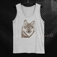 Nerd wolf tank top animal tops size S M L XL printed tee sleeveless tank/ singlet/ unisex clothes