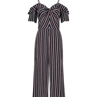 Black Stripe Cold Shoulder Twist Front Jumpsuit | New Look