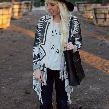 Cozy Fringe Knit Cardigan