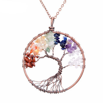 Chakra Tree Of Life Copper Crystal Natural Stone Pendant Necklace