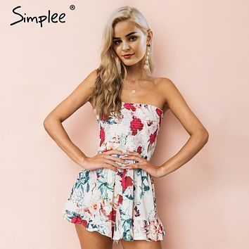 Simplee Strapless print bohemian beach jumpsuit women Sexy ruffle summer playsuit 2018 Ruched casual high waist romper overalls