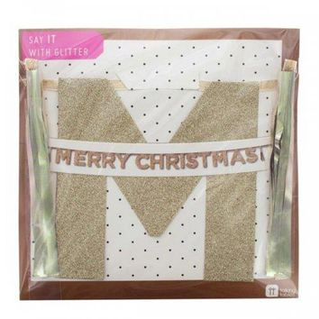'merry Christmas' Gold Glitter Banner (pack of 24)