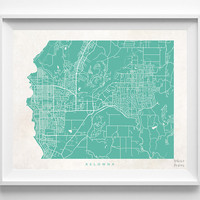 Kelowna, British Columbia, Canada, Print, Map, Poster, State, City, Street Map, Art, Decor, Town, Illustration, Room, Wall Art, Customize