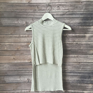 Marilyn Striped Mock Neck Tank (Gray)