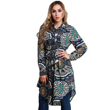 Women Long Floral Print Blouse Turn-down Collar Long Sleeve Asymmetric Hem Shirt