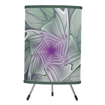Flower Dream, Abstract Purple Green Fractal Art Tripod Lamp