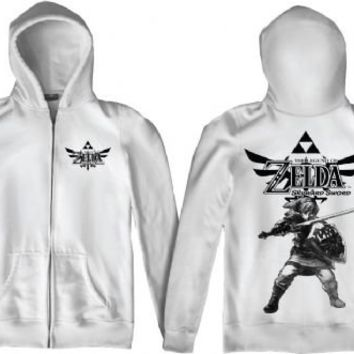 Nintendo Legend of Zelda Twilight Princess Skyward Sword White Adult Full Zip Hooded Sweatshirt - Nintendo - | TV Store Online