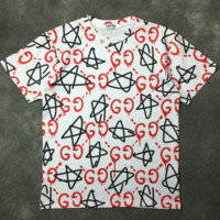GUCCI summer new full five-pointed star letter printed round neck short-sleeved T-shirt F0620-1 white