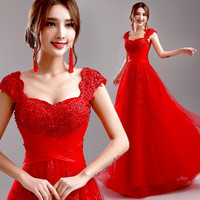DressyProm Red Evening Dress 2015 New Wedding Party Dress Cap Sleeve Lace Long Formal Dress Prom Dresses DP097