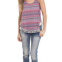 Chillseeker Printed Fringe Tank Top
