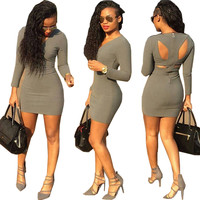 Grey V-Neck Cut-Out Back Long Sleeve Bodycon Dress