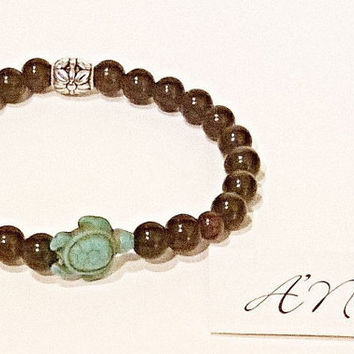 "Men's Bracelet: Genuine Jasper,Turquoise Turtle And Silver Plated Copper ""Nautical Quest"" By ANena Jewelry"