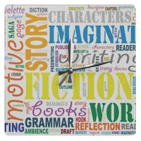 White Fiction Writer's Word Art Clock from Zazzle.com