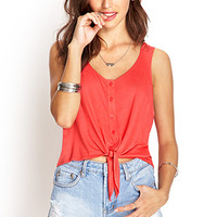 FOREVER 21 Knotted Lace Tank