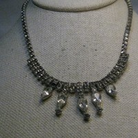 "Vintage Art Deco Rhinestone Necklace, Retro, 1980's, 15"", 1.25"" Drop"