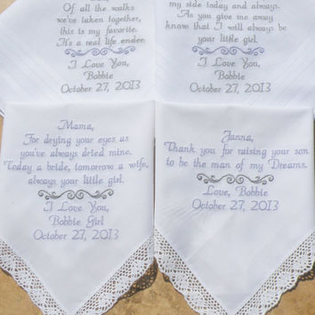 Embroidered Wedding Handkerchiefs Mother and Father of the Bride Mother and Father of the Groom Bride and Groom Gifts Canyon Embroidery Etsy