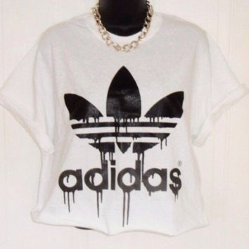 Old skool adidas crop top hipster grunge