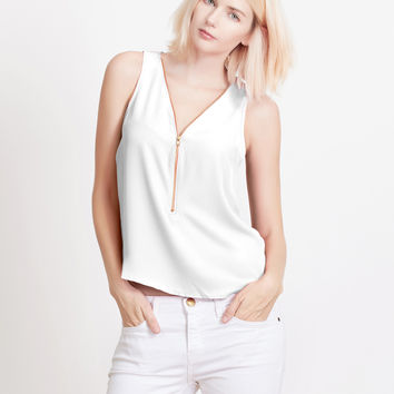 Sleeveless Chiffon Front Zip Up Blouse Top