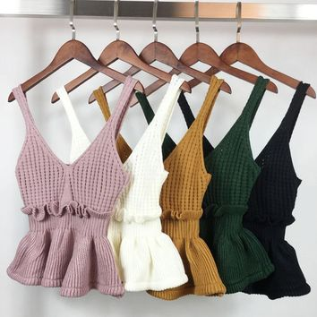 Sexy Stretchable Knit V Neck Crop Cami Tops Summer Style 2018 Vogue Plain Women Sexy Spaghetti Strap Camisole Tank Shirt
