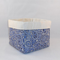 Dark Blue and Cream Bandana Print Fabric Basket For Storage Or Gift Giving