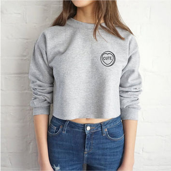 "Gray ""Cute"" Letter and Heart Print Long Sleeve Sweatshirt"