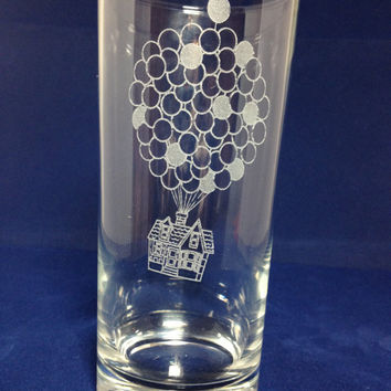 Disney Pixar Up Etched Highball Glass Carl and Ellie House
