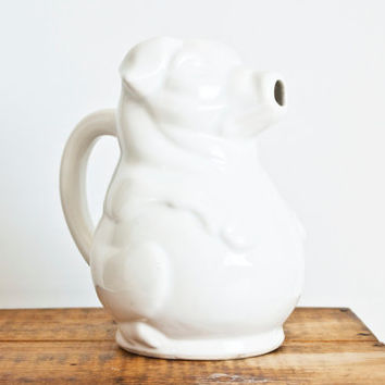 Vintage White Ceramic Pig Pitcher, 1 Liter Piglet Juice Pitcher Pour Spout Mouth Water Carafe, Made in USA